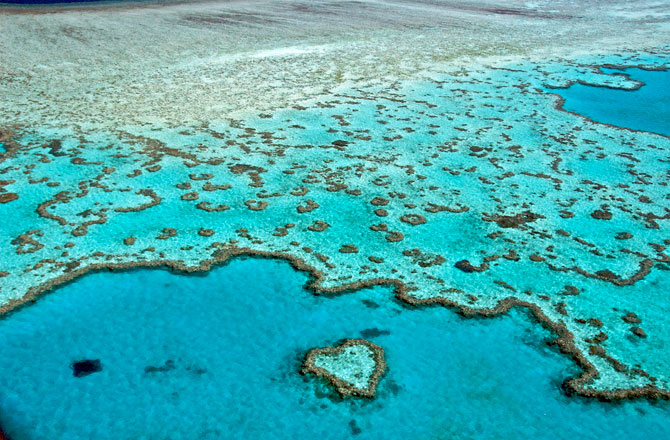 The iconic Heart Reef nestled among the Great Barrier Reef is located in The Whitsundays region. -- Image source: Wikimedia Commons