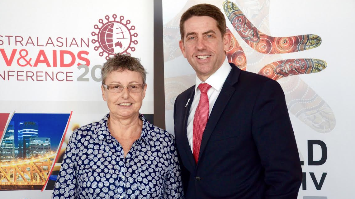 QuAC president Joanna Leamy and Qld Health Minister Cameron Dick at this morning's announcement (PHOTO: David Alexander; Star Observer)