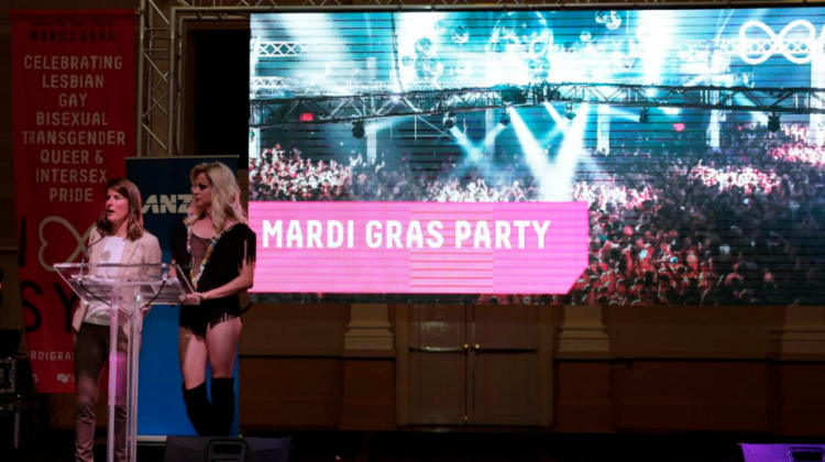 Mardi Gras CEO Michele Bauer and Courtney Act at the 2016 Sydney Gay and Lesbian Mardi Gras season launch last week. (PHOTO: Ann-Marie Calilhanna; Star Observer)