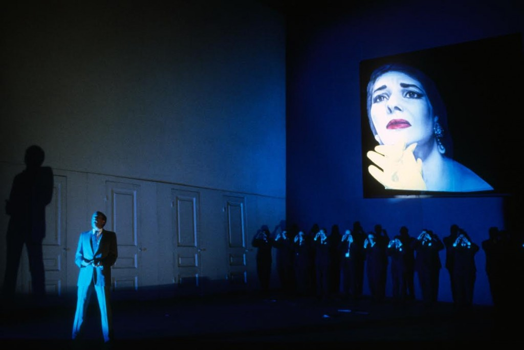 A production still from the original production of the Harvey Milk opera.