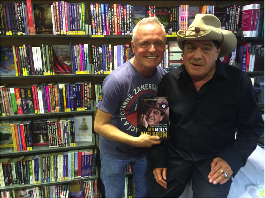 Les McDonald and Molly Meldrum when he visited The Bookshop Darlinghurst. (Photo: Supplied.)