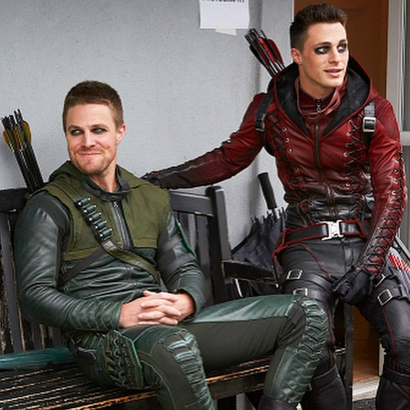 Colton Haynes with his Arrow co-star Stephen Amell (left). Picture: Instagram